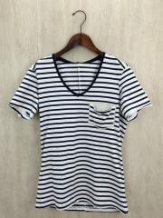 Tシャツ/M/コットン/WHT/ボーダー/poket-V with leather/2017SA