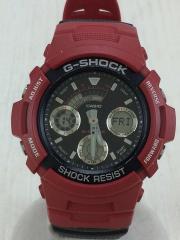 クォーツ腕時計/デジアナ/PVC/BLK/RED