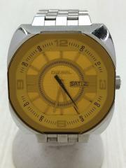 クォーツ腕時計/アナログ/ステンレス/YLW/SLV