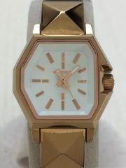 クォーツ腕時計/アナログ/レザー/WHT/BRW/DZ-5351/ベルト使用感有