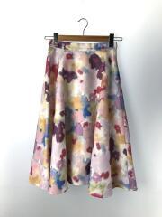 水彩フラワー/フレアスカート/スカート/FREE/ポリエステル/花柄