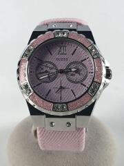 クォーツ腕時計/アナログ/キャンバス/PNK/PNK/W0775L15