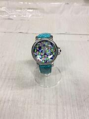 腕時計/クォーツ/アナログ/ターコイズブルー/ラバー/マルチカラー/クロコダイルレザー