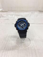腕時計/クォーツ/デジタル/アナログ/ラバー/ブラックxブラック/AW-591