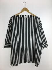 7分袖ブラウス/38/コットン/BLK/ストライプ/ブラック/黒