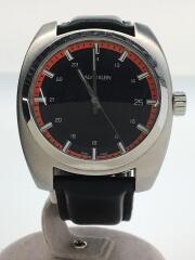 クォーツ腕時計/アナログ/レザー/BLK/ブラック/黒