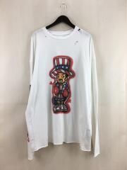 長袖Tシャツ/M/コットン/ホワイト/無地