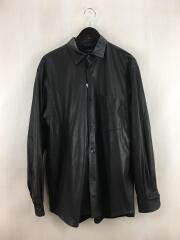 長袖シャツ/2/レザー/ブラック/無地