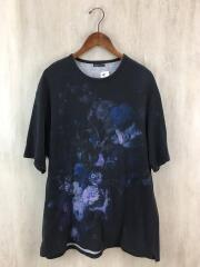 19SS/花柄BIGTee/Tシャツ/M/コットン/ブラック/2119-706/毛羽立ち有
