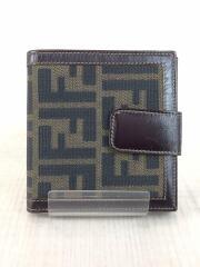 3つ折り財布/キャンバス/BRW/総柄