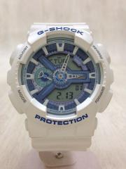 クォーツ腕時計/アナログ/ラバー/BLU/WHT/GA-110WB-7AJF