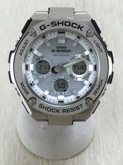 ソーラー腕時計/デジアナ/ステンレス/WHT/SLV/GST-W110D-7AJF