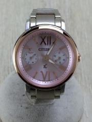 ソーラー腕時計/クロスシー/コマ付/アナログ/ステンレス/PNK/SLV/8635-T021875