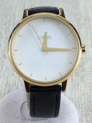 NIXON KENSINGTON LEATHER/クォーツ腕時計/アナログ/レザー/WHT