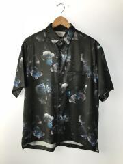ダークフラワービッグシルエットシャツ/109302017/半袖シャツ/2/ポリエステル/BLK/総柄