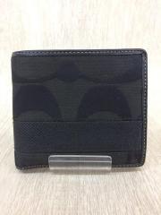 2つ折り財布/キャンバス/BLK/総柄