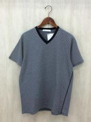VネックTシャツ/L/コットン/GRY/ボーダー