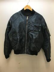 PATCH WET EFFECT BOMBER/フライトジャケット/44/ポリエステル/BLK