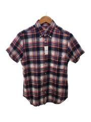 半袖シャツ/ボタンダウン/M/リネン/RED/チェック/GMG-001-4309