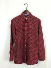 長袖シャツ/S/コットン/RED/チェック