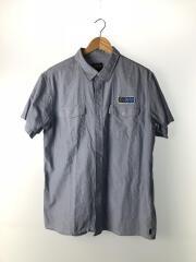 半袖シャツ/L/コットン/ブル―