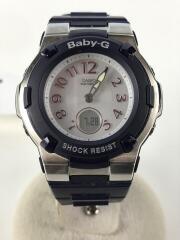 ソーラー腕時計・Baby-G/デジアナ/ラバー/シルバー/ネイビー/BGA-1100-2BJF