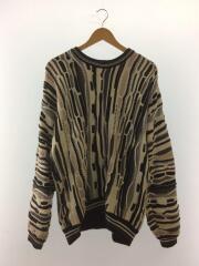 クレイジーパターン/セーター(厚手)/M/コットン/マルチカラー