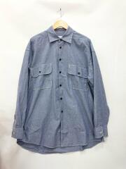 ビッグワークシャツ/M/コットン/ブルー