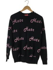 13AW/hatesweater/セーター(薄手)/L/コットン/BLK/総柄