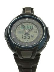 ソーラー腕時計/デジアナ/チタン/GRY
