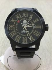 クォーツ腕時計/アナログ/3針/ラウンド/BLK