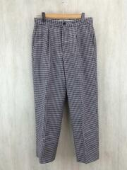 GINGHAM CHECK SUPER BAGGY TAPERED/パンツ/M/ウール/BEG/千鳥格子