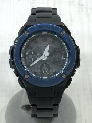 ソーラー腕時計/デジアナ/ステンレス/BLK/BLK/G-SHOCK