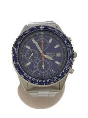 パイロットクロノグラフ/クォーツ腕時計/アナログ/ステンレス/BLU