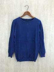 セーター(薄手)/S/コットン/BLU/無地