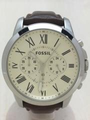 クォーツ腕時計/クロノグラフ/アナログ/レザー/SLV/BRW/レザー擦れや使用感