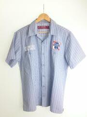ワークシャツ/半袖シャツ/M/ポリエステル/BLU/ストライプ/ワッペン/HS-050113