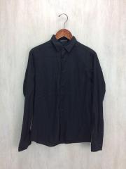 ギター刺繍デザイン長袖シャツ/44/コットン/BLK