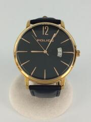 クォーツ腕時計/アナログ/レザー/ネイビー/ネイビー/15307J/ポリス