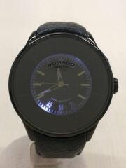 クォーツ腕時計/デジタル/レザー/BLK/GRY