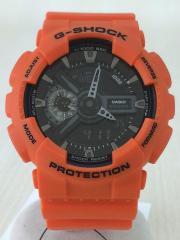 クォーツ腕時計/デジアナ/BLK/ORN