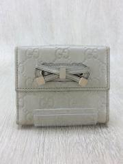 2つ折り財布/レザー/WHT/総柄