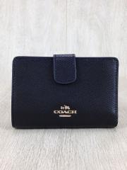 2つ折り財布/レザー/BLK/無地
