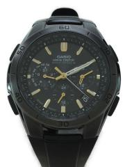 ソーラー腕時計/アナログ/ラバー/BLK/BLK