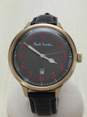 腕時計/アナログ/レザー/BLK/BLK