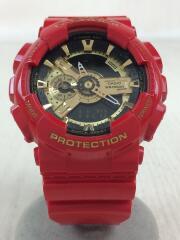 G-SHOCK/クォーツ腕時計/デジアナ/ラバー/GLD/RED/カシオ