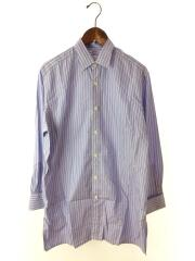 ダブルカフワイドシャツ/シャツワンピース/--/コットン/BLU/ストライプ/ビューティーアンドユース