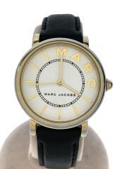 クォーツ腕時計/アナログ/レザー/WHT/BLK/MJ1537/電池切れ