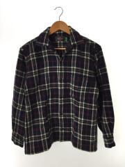 襟刺繍ネルシャツ/長袖シャツ/M/ウール/NVY/チェック
