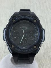 カシオ/ジーショック/ソーラー腕時計/アナログ/ラバー/BLK